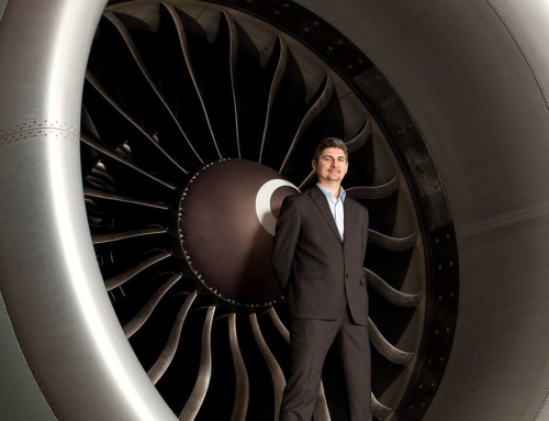 Aerospace-executive-on-location-portrait-standing-in-jet-engine