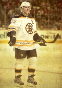 The Boston Bruins iconic Mark Recchi looks into crowd in 2010-2011 pre-season game.